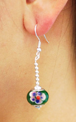Green Flower Drop Earrings